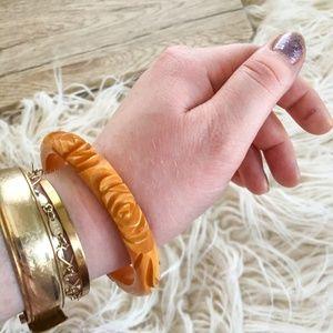 Vintage 1940's Carved butterscotch bangle bracelet